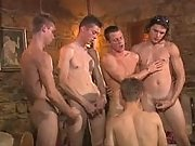 Lustful boys in crazy orgy on floor